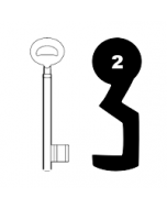 Buntbartschlüssel Bever & Klophaus System H Nr. 2 (Abbildung von der Ringseite aus gesehen)