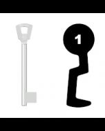 Buntbartschlüssel Bever H Nr. 1 (Abbildung von der Ringseite aus gesehen)