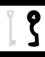 Buntbartschlüssel Bever H Nr. 4 (Abbildung von der Ringseite aus gesehen)