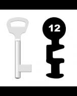 Buntbartschlüssel BKS Nr. 12 (Abbildung von der Ringseite aus gesehen)