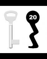 Buntbartschlüssel BKS Nr. 20 (Abbildung von der Ringseite aus gesehen)