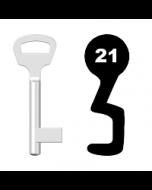 Buntbartschlüssel BKS Nr. 21 (Abbildung von der Ringseite aus gesehen)