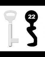Buntbartschlüssel BKS Nr. 22 (Abbildung von der Ringseite aus gesehen)