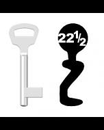 Buntbartschlüssel BKS Nr. 22½ (Abbildung von der Ringseite aus gesehen)