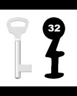Buntbartschlüssel BKS Nr. 32 (Abbildung von der Ringseite aus gesehen)