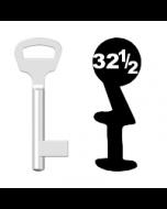 Buntbartschlüssel BKS Nr. 32½ (Abbildung von der Ringseite aus gesehen)