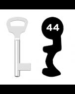 Buntbartschlüssel BKS Nr. 44 (Abbildung von der Ringseite aus gesehen)