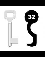 Buntbartschlüssel Dörrenhaus Nr. 32 (Abbildung von der Ringseite aus gesehen)