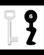 Buntbartschlüssel Dörrenhaus Nr. 6 (Abbildung von der Ringseite aus gesehen)