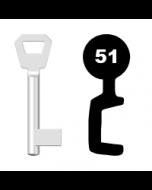Buntbartschlüssel KFV Nr. 51 (Abbildung von der Ringseite aus gesehen)