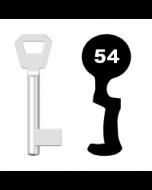 Buntbartschlüssel KFV Nr. 54 (Abbildung von der Ringseite aus gesehen)