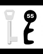 Buntbartschlüssel KFV Nr. 55 (Abbildung von der Ringseite aus gesehen)