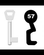 Buntbartschlüssel KFV Nr. 57 (Abbildung von der Ringseite aus gesehen)
