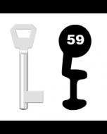 Buntbartschlüssel KFV Nr. 59 (Abbildung von der Ringseite aus gesehen)