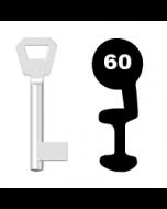 Buntbartschlüssel KFV Nr. 60 (Abbildung von der Ringseite aus gesehen)