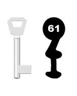 Buntbartschlüssel KFV Nr. 61 (Abbildung von der Ringseite aus gesehen)