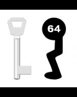 Buntbartschlüssel KFV Nr. 64 (Abbildung von der Ringseite aus gesehen)
