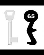 Buntbartschlüssel KFV Nr. 65 (Abbildung von der Ringseite aus gesehen)