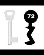 Buntbartschlüssel KFV Nr. 72 (Abbildung von der Ringseite aus gesehen)