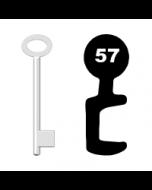 Buntbartschlüssel für Kastenschloss Nr. 57 (Abbildung von der Ringseite aus gesehen)