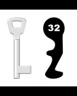 Buntbartschlüssel KIMA Nr. 32 (Abbildung von der Ringseite aus gesehen)