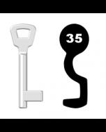 Buntbartschlüssel KIMA Nr. 35 (Abbildung von der Ringseite aus gesehen)