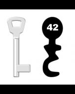 Buntbartschlüssel KIMA Nr. 42 (Abbildung von der Ringseite aus gesehen)