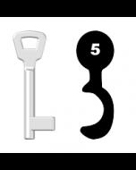 Buntbartschlüssel KIMA Nr. 5 (Abbildung von der Ringseite aus gesehen)