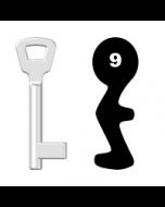 Buntbartschlüssel KIMA Nr. 9 (Abbildung von der Ringseite aus gesehen)