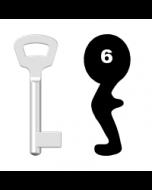 Buntbartschlüssel Nemef Nr. 6 (Abbildung von der Ringseite aus gesehen)