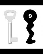 Buntbartschlüssel Nemef Nr. 9 (Abbildung von der Ringseite aus gesehen)
