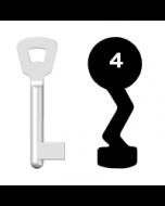 Buntbartschlüssel Novoferm Nr. 4 (Abbildung von der Ringseite aus gesehen)