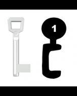 Buntbartschlüssel Schulte Schlagbaum Nr. 1 (Abbildung von der Ringseite aus gesehen)