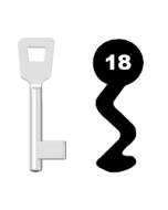 Buntbartschlüssel Schulte Schlagbaum Nr. 18 (Abbildung von der Ringseite aus gesehen)