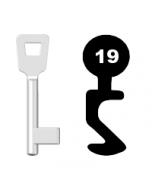 Buntbartschlüssel Schulte Schlagbaum Nr. 19 (Abbildung von der Ringseite aus gesehen)