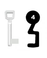 Buntbartschlüssel Schulte Schlagbaum Nr. 4 (Abbildung von der Ringseite aus gesehen)