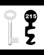 Buntbartschlüssel Standard Nr. 215 (Abbildung von der Ringseite aus gesehen)