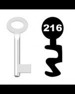 Buntbartschlüssel Standard Nr. 216 (Abbildung von der Ringseite aus gesehen)