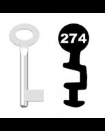 Buntbartschlüssel Standard Nr. 274 (Abbildung von der Ringseite aus gesehen)