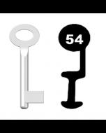 Buntbartschlüssel Standard Nr. 54 (Abbildung von der Ringseite aus gesehen)