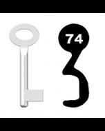 Buntbartschlüssel Standard Nr. 74 (Abbildung von der Ringseite aus gesehen)