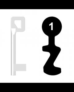 Buntbartschlüssel BASI Nr. 1 (Abbildung von der Ringseite aus gesehen)