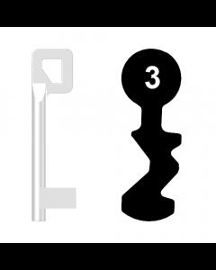 Buntbartschlüssel BASI Nr. 3 (Abbildung von der Ringseite aus gesehen)