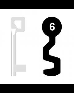 Buntbartschlüssel BASI Nr. 6 (Abbildung von der Ringseite aus gesehen)