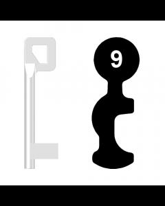 Buntbartschlüssel BASI Nr. 9 (Abbildung von der Ringseite aus gesehen)