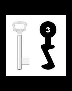 Buntbartschlüssel Bever & Klophaus System M Nr. 3 (Abbildung von der Ringseite aus gesehen)
