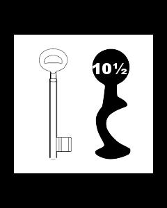 Buntbartschlüssel Bever & Klophaus System H Nr. 10½ (Abbildung von der Ringseite aus gesehen)