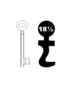Buntbartschlüssel Bever & Klophaus System H Nr. 18½ (Abbildung von der Ringseite aus gesehen)