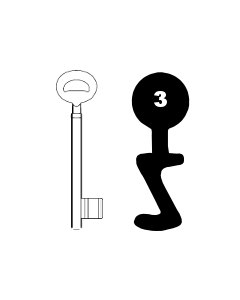 Buntbartschlüssel Bever & Klophaus System H (alt) Nr. 3 (Abbildung von der Ringseite aus gesehen)