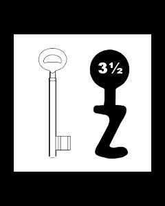 Buntbartschlüssel Bever & Klophaus System H Nr. 3½ (Abbildung von der Ringseite aus gesehen)